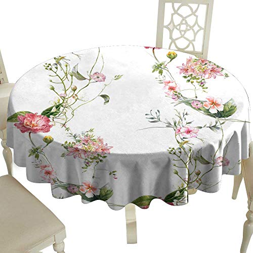 WinfreyDecor Washable Table Cloth Watercolor Painting of Leaf and Flowers Seamless Pattern on White Background Great for Buffet Table - Rosette Leaf Copper