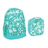 Reinforced Water Resistant School Backpack and Insulated Lunch Bag Set - Teal Floral Motif