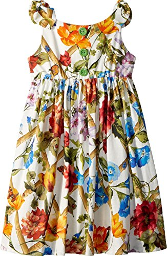 Dolce & Gabbana Kids Girl's Sleeveless Dress (Big Kids) White Print 10 by Dolce & Gabbana