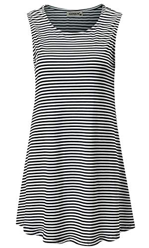 - iGENJUN Women's Summer Sleeveless Swing Tunic Casual Floral Flare Tank Tops,Stripe,S