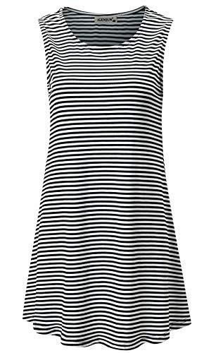 (iGENJUN Women's Summer Sleeveless Swing Tunic Casual Floral Flare Tank Tops,Stripe,XXL)