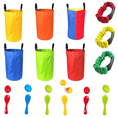 Game Set For Outdoors 6 Sack Race Bags, 6 Spoons and Eggs and 3 Adjustable Leg Bands Party Games For All Ages Kids in School or Family Parties -