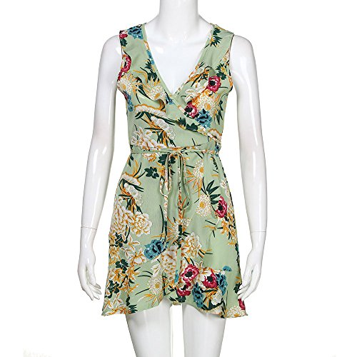 Dresses for Women Work Casual,Summer Dresses for Women,Women's Dresses Spaghetti Strap Floral Print A Line Mini Dress Green by Wugeshangmao Dress (Image #2)