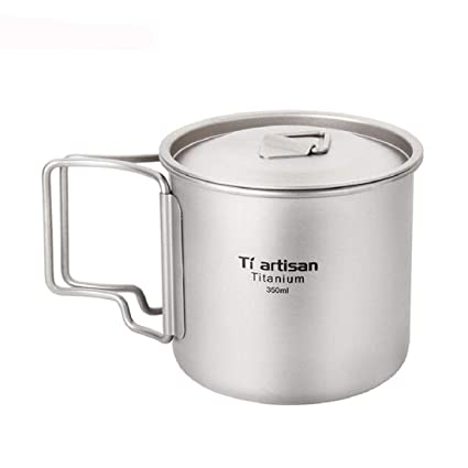 876eae2148e Yeefant Ultralight Lightweight Titanium Cup Picnic Outdoor Camping Titanium  Water Mug with Folding Handles Drinking Camping