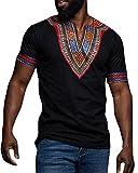 Tutorutor Men Dashiki Shirts African Print Short Sleeve Graphic Tops V Neck Fashion T-Shirt