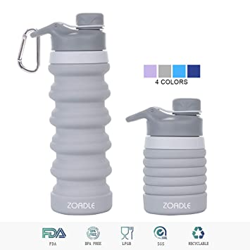 Water Bottle Collapsible Outdoor Hiking Camping Plastic Bag Soft Travel Flask FM
