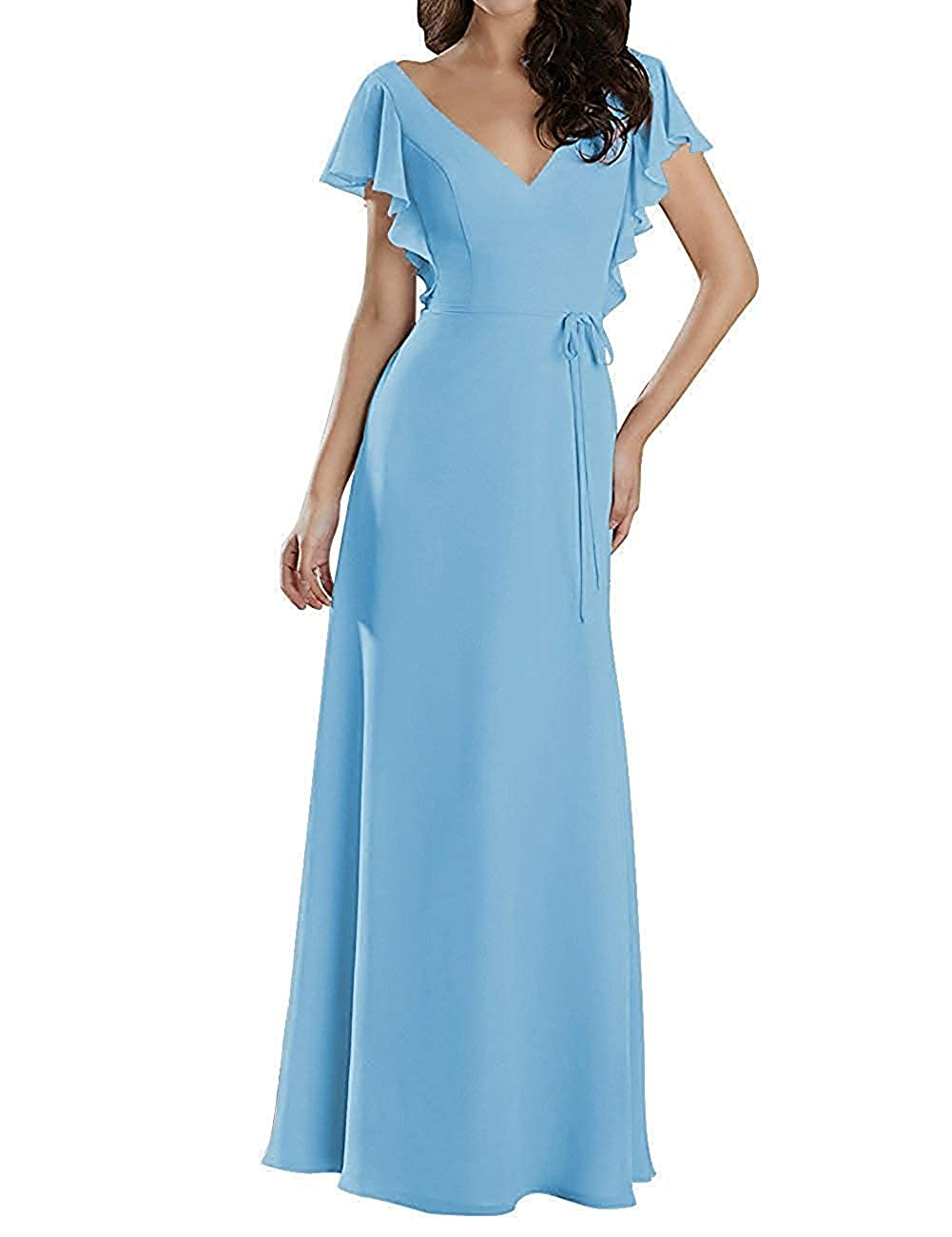 Light bluee Mother of The Bride Dresses Plus Size Long Evening Gown with Short Sleeves Mother Dress for Wedding