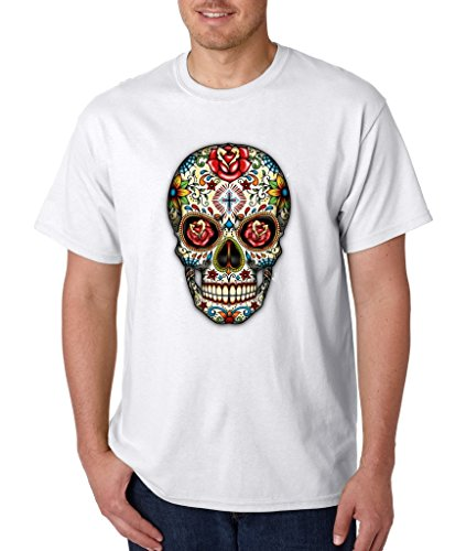 Sugar Skull Rose Eyes Grunge T-shirt Day of Dead Shirts Large White s2 ()