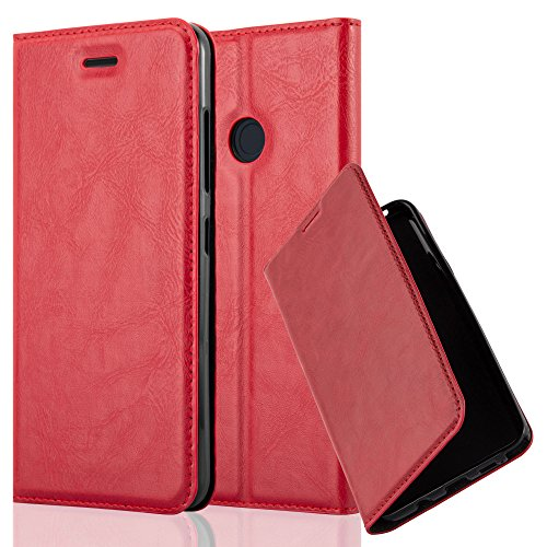 Cadorabo Book Case Works with HTC Desire 10 PRO in Apple RED - with Magnetic Closure, Stand Function and Card Slot - Wallet Etui Cover Pouch PU Leather Flip