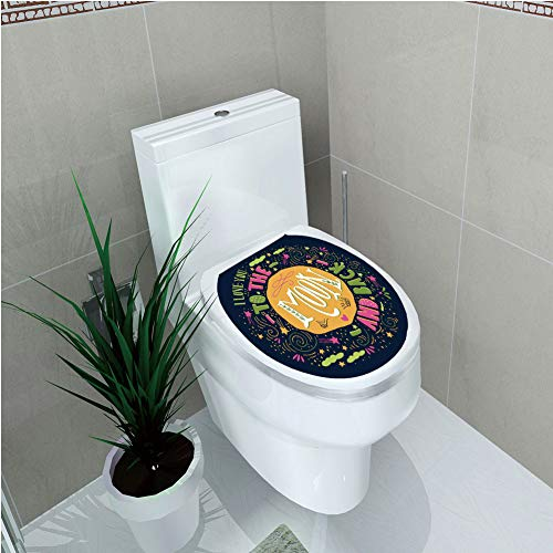 Toilet Applique,I Love You,Cute Romance Shapes Hot Love Clouds Childish Inspirational Creative Friend Print Decorative,Multicolor,Custom Sticker,W12.6