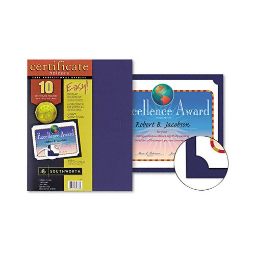 Southworth : Certificate Holder, 12 x 9 1/2, Navy, 10 Per Pack, Navy -:- Sold as 2 Packs of - 10 - / - Total of 20 Each ()