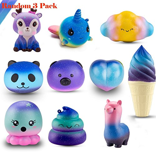 WATINC Random 3Pcs Jumbo Starry Squishy, Kawaii Cream Scented Slow Rising Squishy for Kid Toy, Lovely Toy,Stress Relief Toy,Decorations Toy Gift Fun