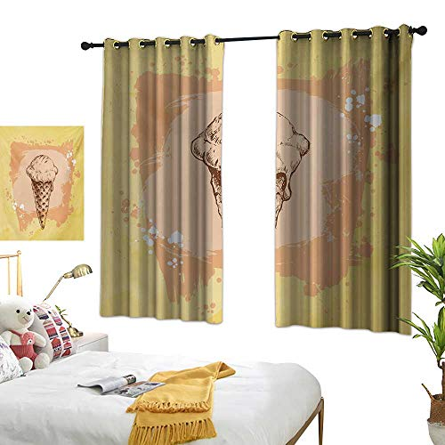 Bedroom Curtains W63 x L45 Modern,Single Ice Cream with Cone on Grunge Paintbrush Background Sweet Graphic,Yellow Peach Salmon Darkening Bedroom Living Curtains ()