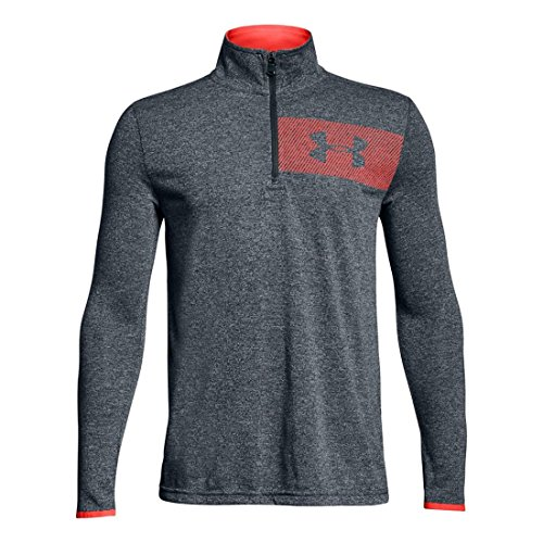 Under Armour Kids Boy's Threadborne 1/4 Zip (Big Kids) Stealth Gray Light Heather/Green Typhoon/Neon Coral Medium by Under Armour