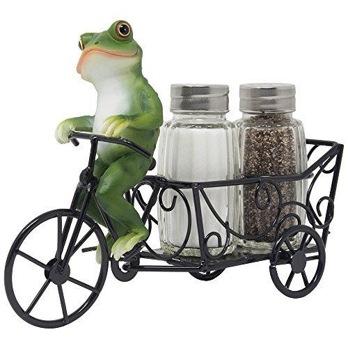 Decorative Frog Riding Bicycle Cart Salt and Pepper Shaker Set Display Stand Figurine for Whimsical Restaurant Dining Room Table Centerpieces or Cottage Kitchen Decor Spice Racks As Housewarming Gifts - Lily Pad Display Frog