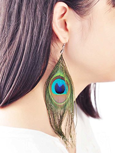 Natural Peacock Feather Earrings - LittleB Feather Earrings Retro Luxury Peacock Feather earring for women and girls.
