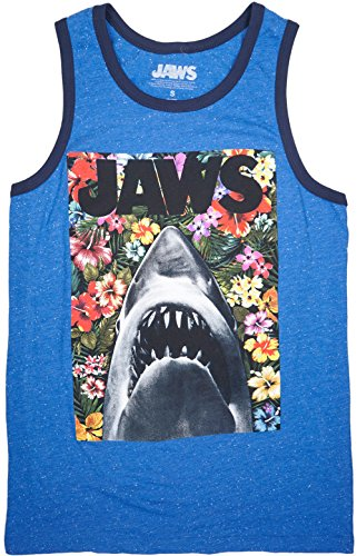Jaws Floral Men's Tank Top in Heather Royal. S-2XL.