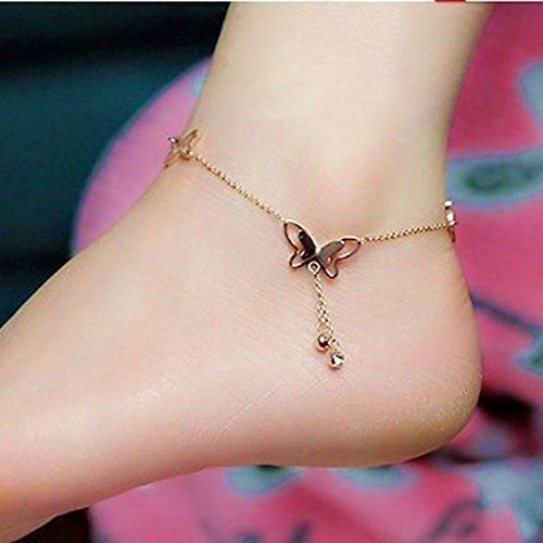 suphojshop Barefoot Sandal Beach Foot Chain Rose Gold Butterfly Charm Anklet Bracelet Gift