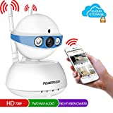 Security Camera,POWERIVER WiFi IP Indoor Security System with Motion Detection,Two-Way Audio & Night Vision for Baby/Pet / Front Porch Monitor,Remote Control with iOS,Android,PC APP(Blue)