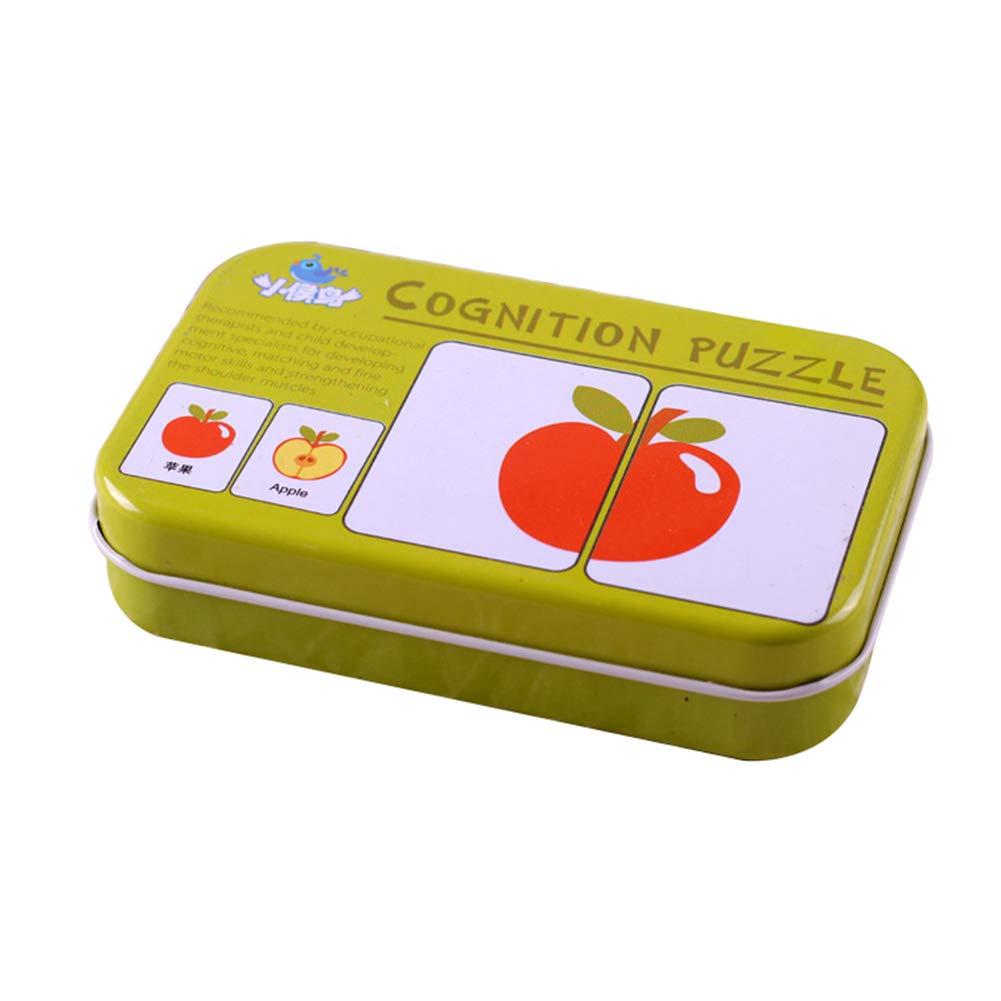 AchidistviQ Montessori - Tarjeta de Memoria cognitiva para bebé, diseño de Animales de Frutas, Madera, Fruit
