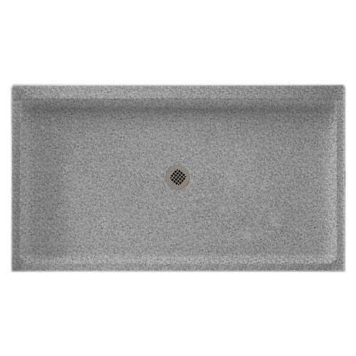 (Swanstone SS-3260-042 Solid Surface Center Drain Shower Base, 60-in L X 32-in H X 5.5-in H, Gray Granite)
