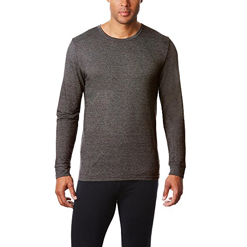 32 Degrees Heat Mens Long Sleeve Crew Neck Performance Mesh Heather Black - Delaware Shopping Outlet