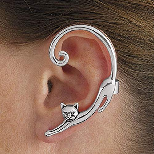 Single Piece Punk Style Gold Silver Plated Cat Post Earring With Ear Cuff Rock Animal Black Stud Earring Women 2019 Ear Wrap (Gold Cat Earring Cuff)