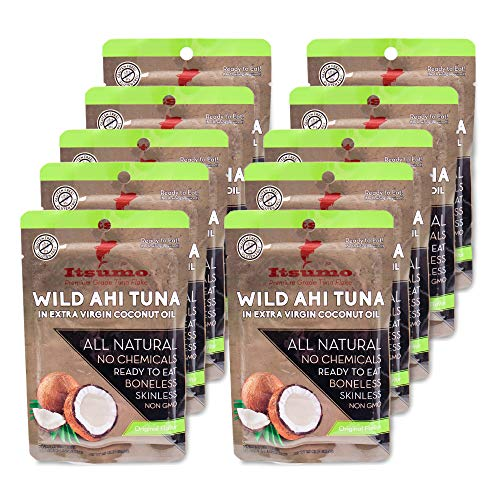 - Tuna Fish - Keto Snack - Itsumo Wild Ahi Tuna in Extra Virgin Coconut Oil (Pack of 10) - Healthy Premium Grade Yellowfin with All Natural Ingredients - Paleo & Gluten Free Protein Snack Pouches