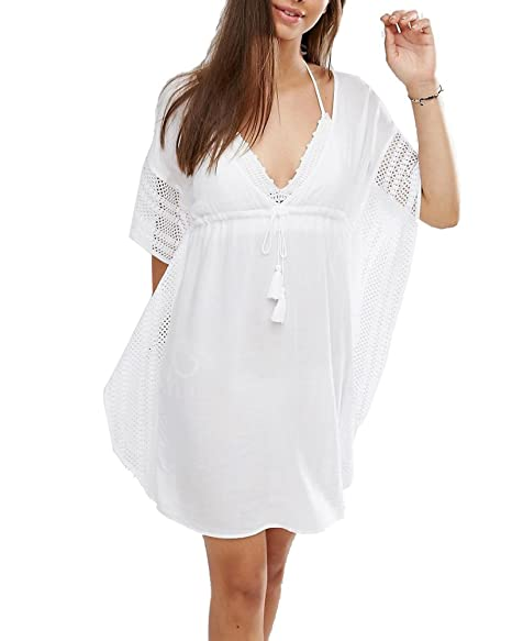 Elegeet Womens V-neck Lace Hollow Beach Cover Up Swimsuit Bathing Suit  Beach Dress 143995238