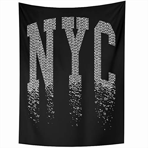 Ahawoso Tapestry 60 x 80 Inches Best Label New York City Graphics Sports Black Recreation Vintage Stamp Varsity Denim NYC Design Wall Hanging Home Decor Tapestries for Living Room Bedroom Dorm