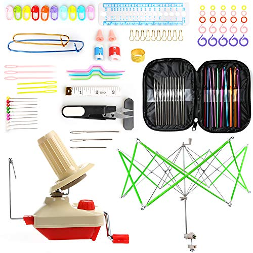- Yarn Ball Winder and Umbrella Swift Yarn Winder Including 100Pcs Crochet Hooks Set by LAMPTOP - Hand Operated Yarn Ball Winder and Umbrella Yarn Swift- 100pcs Knitting Accessories Kit Included