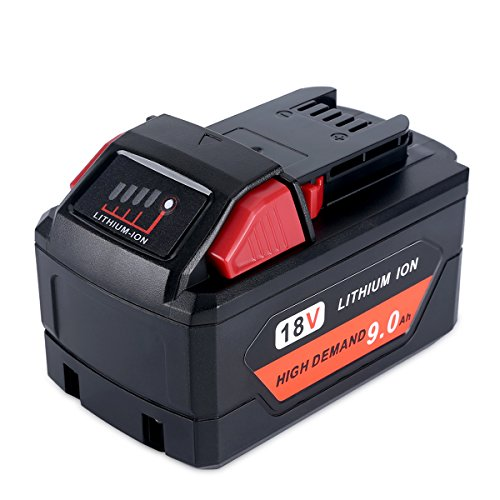 Biswaye 9000mAh 18V Lithium Battery M18 for Milwaukee, Replacement for Milwaukee 18V M18 High Demand 9.0 Battery 48-11-1890 48-11-1852 48-11-1850 48-11-1828