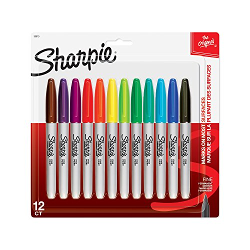 Sharpie 30075PP Permanent Markers, Fine Point, Assorted Colors, 12 Count