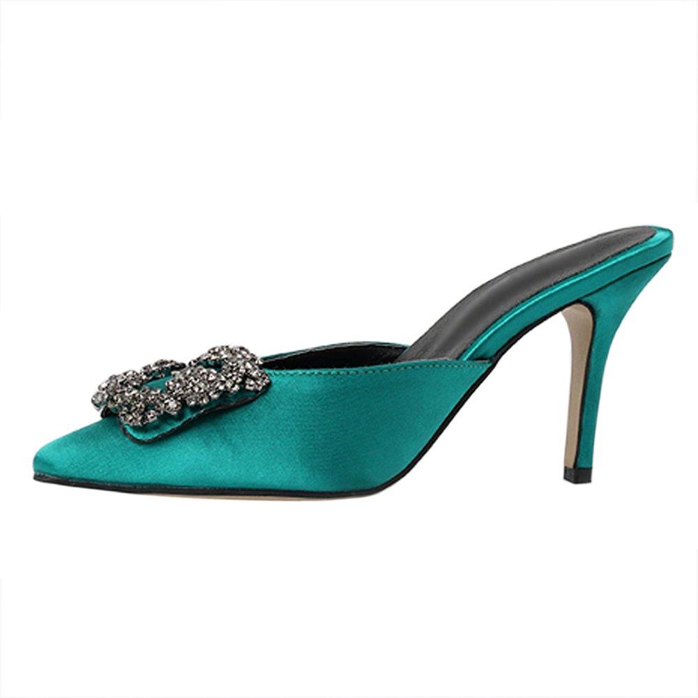 MERUMOTE Women's Thin Heels Sandals Diamonds Wedding Party Shoes Heeled Sandals Green US6