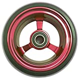 RIANTWHEEL, 3''X 1.4'', Solid, PU Wheels, Wheelchair Casters, Aluminum Rim, one Pair (RED)