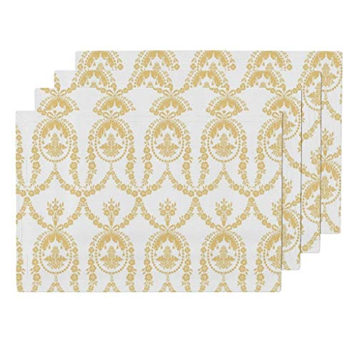 Promini Heat-Resistant Placemats, Rococo Toile Buttercup Yellow Washable Polyester Table Mats Non Slip Washable Placemats for Kitchen Dining Room Set of - Slip Buttercup