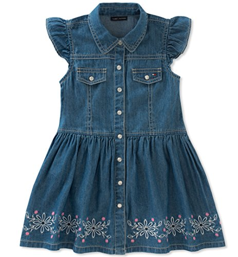(Tommy Hilfiger Little Girls' Denim Dress, Parisian Blue,)