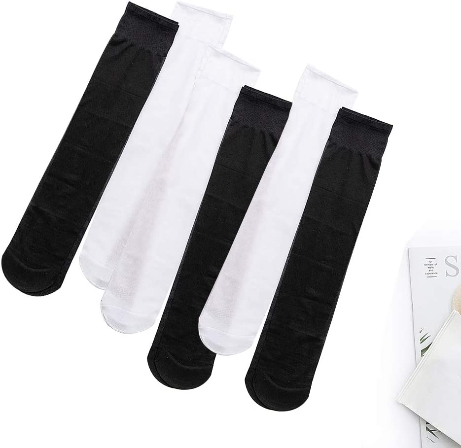 BHAHAI 8 Pairs Sheer Knee High Socks Medium Support Knee Highs with Comfort Top Ladies Pop Socks Knee High Tights Nylon Extra Wide Knee High Pop Socks 18 Denier for Womens Ladies