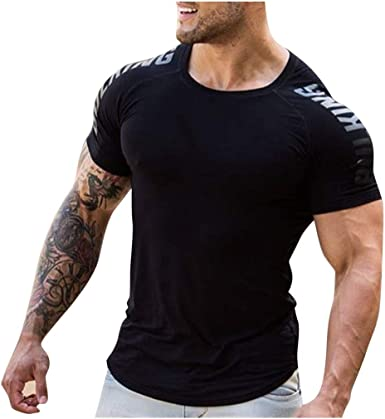 Cool Dry Fit Short Sleeve Shirt Fitness Sport Workout Crew Neck Tees Mens Athletic T-Shirts