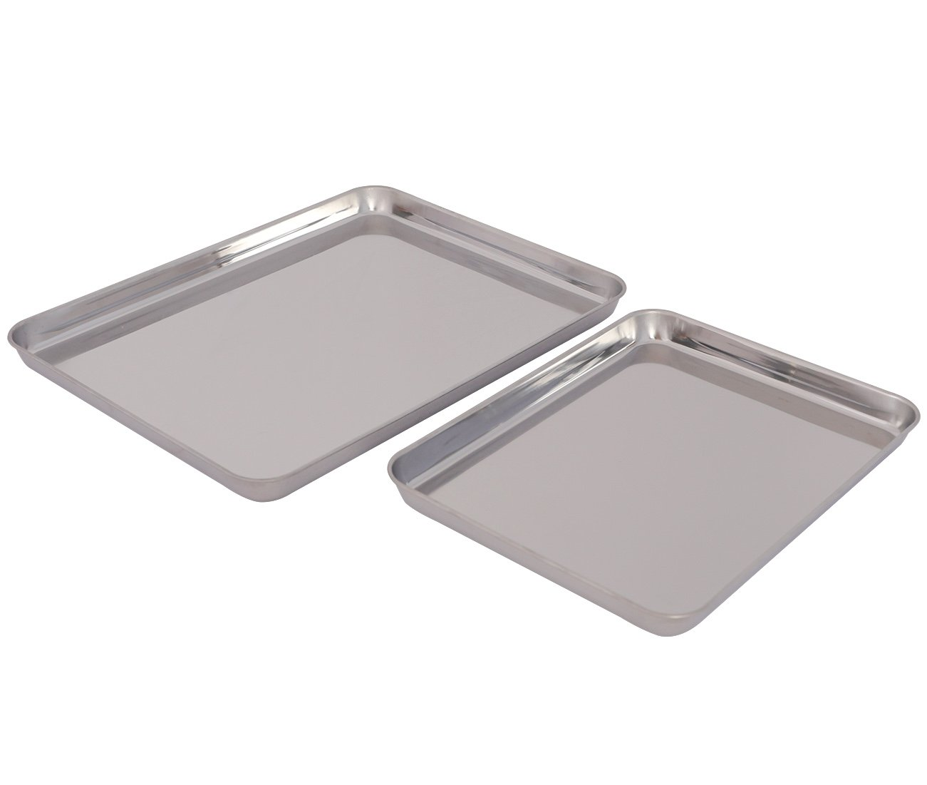 TQVAI Stainless Steel Baking Cookies Sheet Jelly Roll Pan Set, Set of 2
