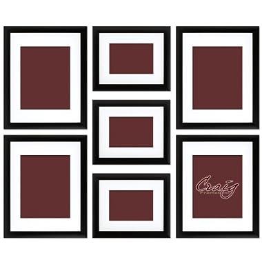 Craig Frames 1WB3BK Picture Frame 7-Piece Wall Set, Black Frames, White Display Mats