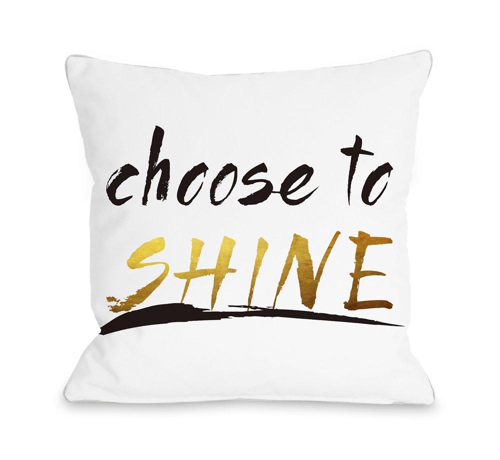One Bella Casa 73652PL16 Pillow 16 x 16 White//Black//Gold