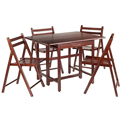 Winsome Wood Taylor 5-Pc Set Drop Leaf Table W/ 4 Folding Chairs (Drop Leaf Table And Folding Chairs)