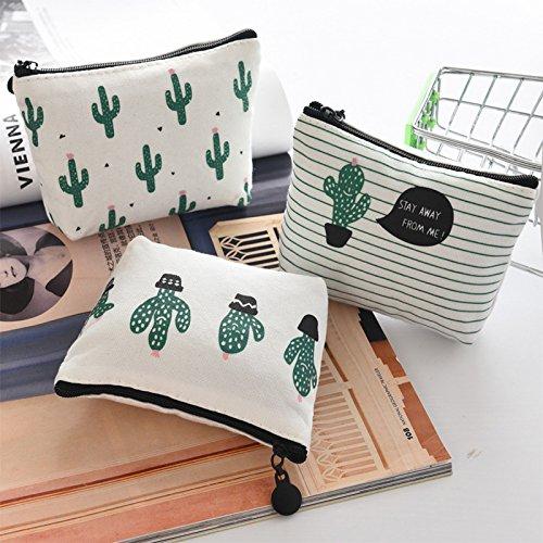 Wakerda Cactus Print Bag Lady Mini Coin Wallet Coin Bag Monedero Lienzo Bolsa de Maquillaje Billeteras Cortas Coin Key Holder para Mujeres