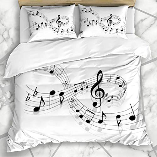 - Ahawoso Duvet Cover Sets Queen/Full 90x90 Ideas Piano Notes Music Musical Note Jazz Swirl Sheet Key Pattern Clef Microfiber Bedding with 2 Pillow Shams