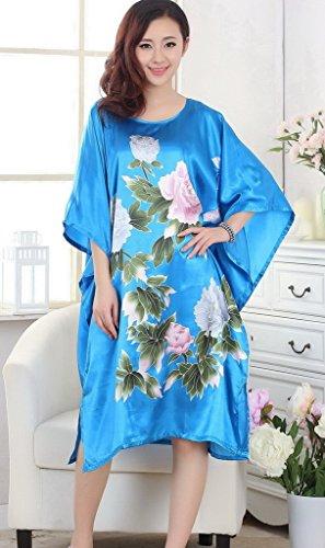 Bigood Pyjama Femme Soie Imité Robe de Nuit Kimono Lâche Imprimé