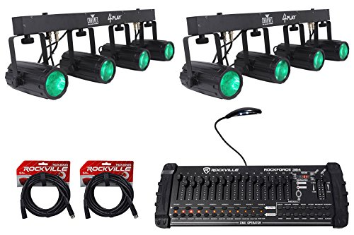 ((2) Chauvet DJ 4Play LED Light Beam Moonflower Effect Bar Systems+DMX Controller)