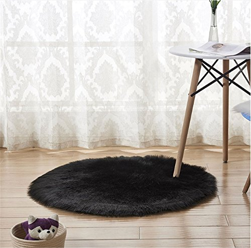 CHITONE Round Faux Fur Sheepskin Rugs, Soft Shaggy Area Rug Home Decorative Bedroom Fluffy Carpet Rug, Diameter 2 Feet, Black (Large Buy Rugs)