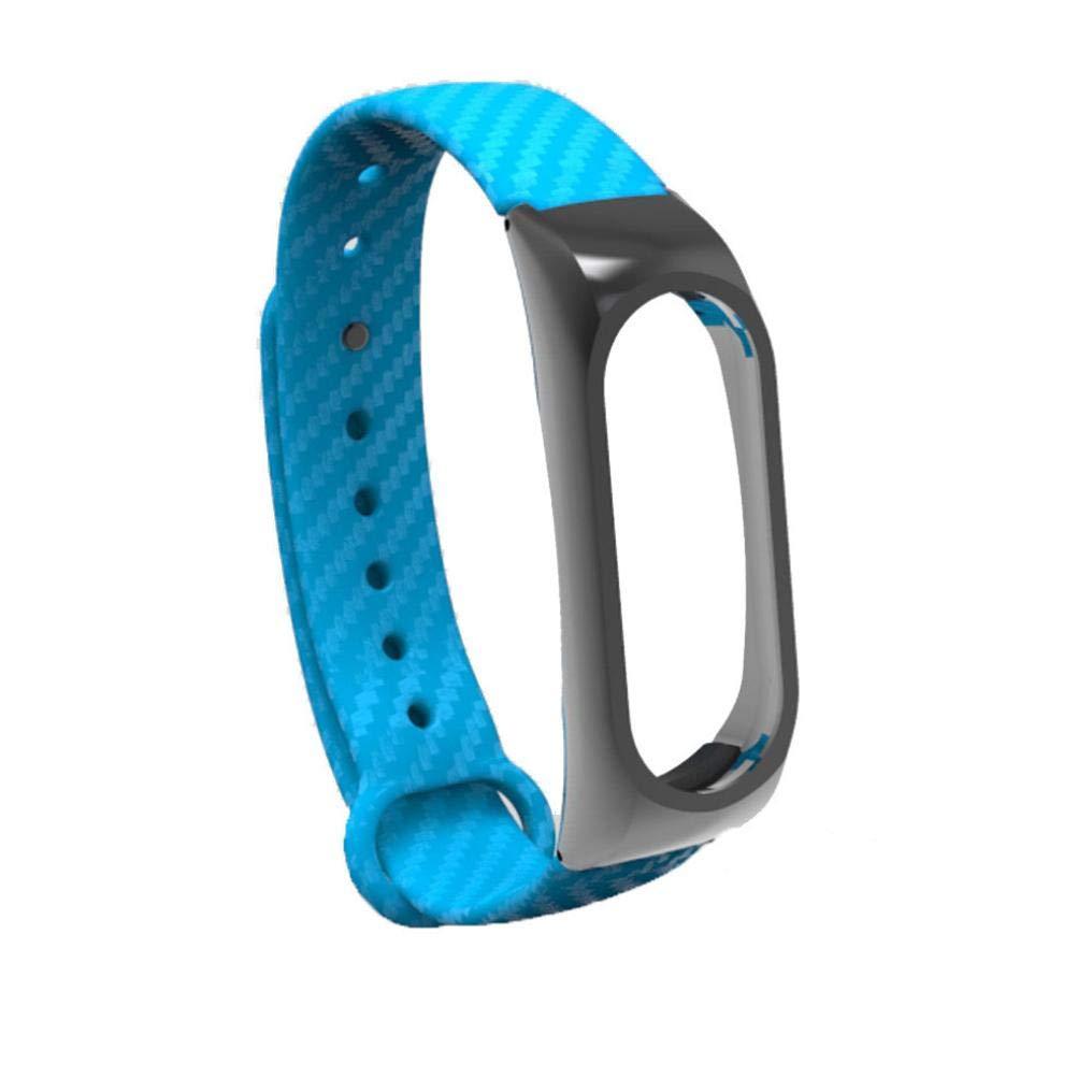 ☀️Modaworld Pulsera de reemplazo Pulsera de Correa de Pulseras TPE de Moda para Xiaomi Mi Band 2 Brazalete (Azul)