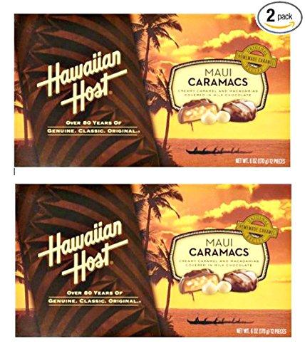 Hawaiian Host Maui Caramacs Creamy Caramel and Macadamias Covered in Milk Chocolate 6 oz Boxes (2 Boxes)